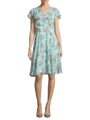 Floral Flutter-Sleeve Dress by Eliza J