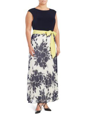 Plus Pleated Floral Maxi Dress by Eliza J