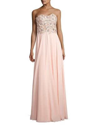 Strapless Floral-Embroidered Gown by Glamour by Terani Couture