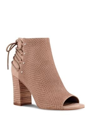 Britt Textured Suede Peep Toe Ankle Boots by Nine West