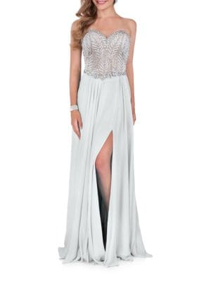 Beaded Floor-Sweeping Dress by Glamour by Terani Couture