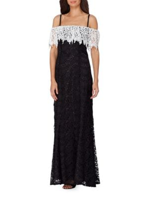 Colorblock Popover Lace Gown by Tahari Arthur S. Levine