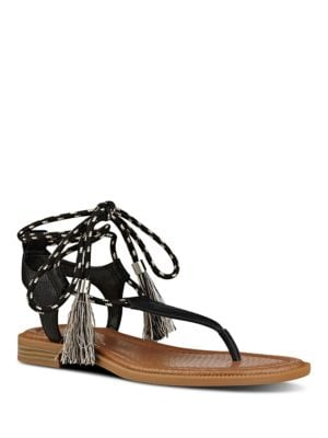 Gannon Leather Flat Thong Sandals by Nine West