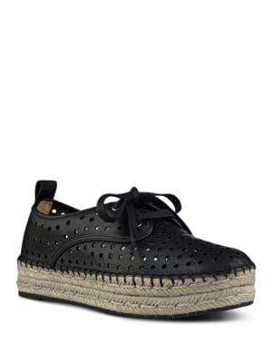 Garza Perforated Double Espadrille Platform Sneakers by Nine West