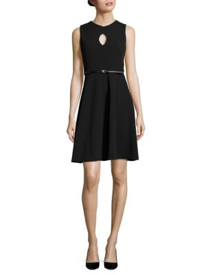 Belted A-Line Dress by Calvin Klein