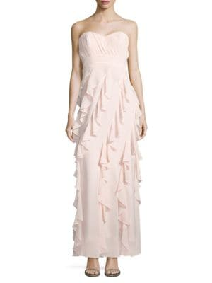 Sweetheart Neckline Ruffled Gown by Belle Badgley Mischka