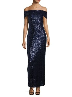 Off-The-Shoulder Sequined Gown by Belle Badgley Mischka
