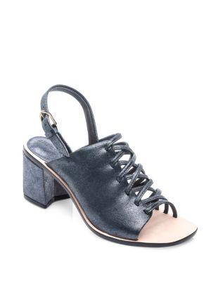 Sansa Strappy Leather Block Heel Sandals by Bernardo