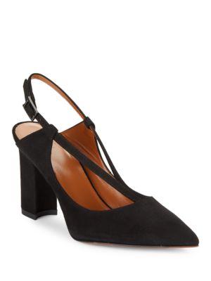 Hartley Point Toe Suede Slingback Heels by Aquatalia