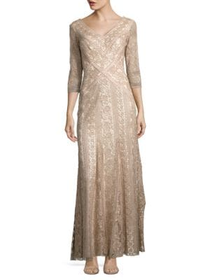 Embellished Three-Quarter Sleeved Gown by Tadashi Shoji