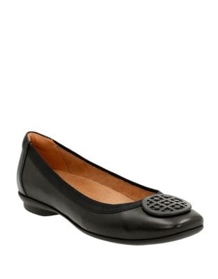 Candra Blush Leather Ballet Flats by Clarks