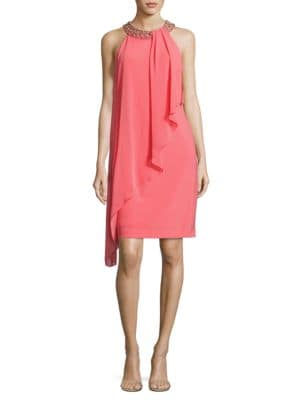 Beaded Asymmetric Overlay Dress by Vince Camuto