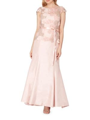 Lace-Trimmed Illusion Gown by Tahari Arthur S. Levine
