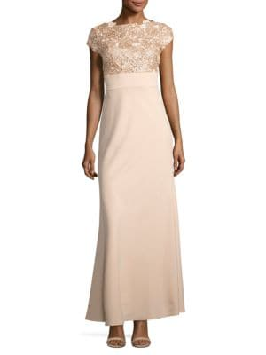 Sequin and Floral Embroidered Cap Sleeved Gown by Js Collections
