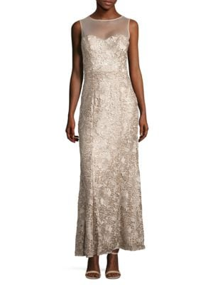 Sequined and Embroidered Gown by Js Collections