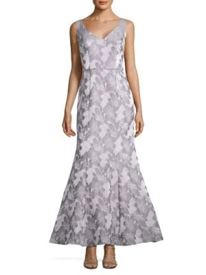 Floral-Motif Mermaid Gown by Js Collections