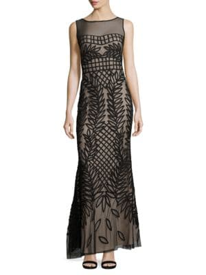 Embroidered Illusion Dress by Js Collections