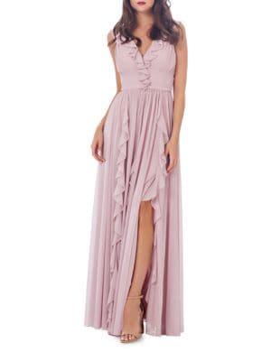 Ruffled Front Slit Gown by Js Collections