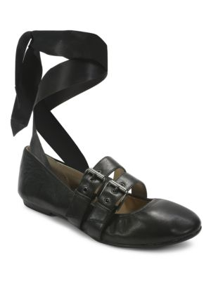 Sari Lace-Up Nappa Leather Ballet Flats by Luxury Rebel