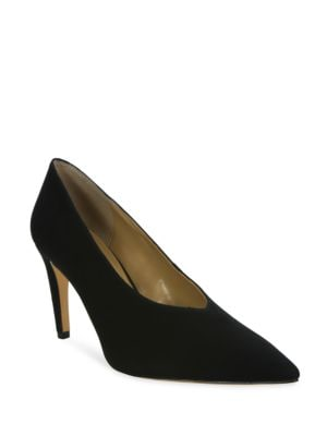 Vanna Suede Banana Heel Pumps by Luxury Rebel