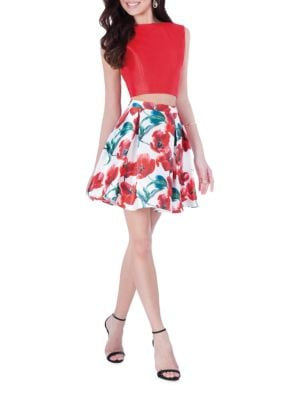 Two-Piece Floral-Print Top & Skirt Set by Glamour by Terani Couture