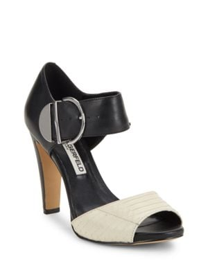 Photo of Leather Block-Heel Ankle-Strap Sandals by Karl Lagerfeld Paris - shop Karl Lagerfeld Paris shoes sales