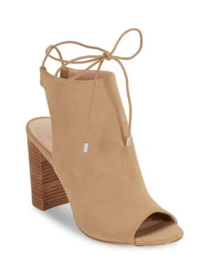 Elista Chunky Heel Peep Toe Ankle Boots by Charles by Charles David