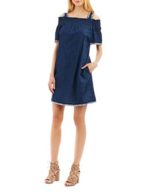 Smocked Cotton Off-The-Shoulder Dress by Nicole Miller New York