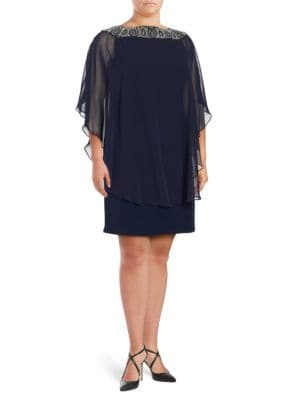 Plus Plus Beaded Chiffon Capelet Shift Dress by Xscape