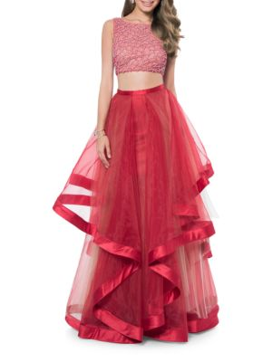 Two- Piece Embellished Prom Dress Set by Glamour by Terani Couture
