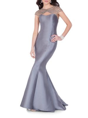 Beaded Mermaid Gown by Glamour by Terani Couture
