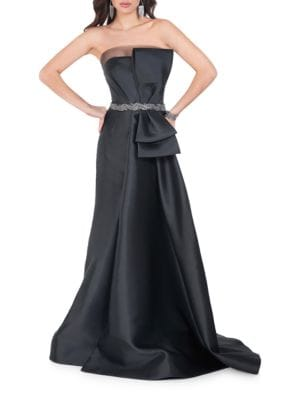 Front Bow Beaded Waist Gown by Glamour by Terani Couture