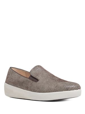 Superskate Lizard-Printed Suede Loafers by FitFlop