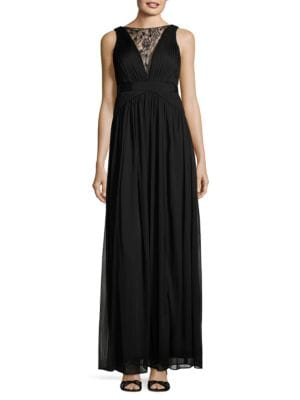 Embellished Mesh A-Line Dress by Adrianna Papell