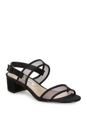 Ganice Metallic Foil Block Heel Sandals by Nina