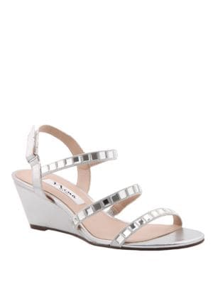 Naleigh Satin Wedge Heel Sandals by Nina