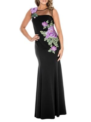 Embroidered Floral Trumpet Gown by Decode 1.8