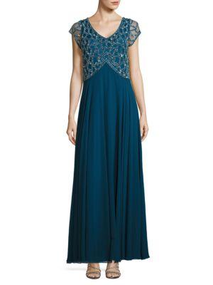 V-Neck Embellished Gown by J Kara