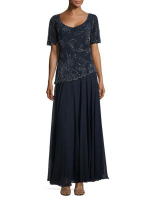 V-Neck Embellished-Overlay Gown by J Kara