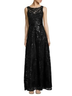 V-Back Sequined Gown by Karl Lagerfeld Paris