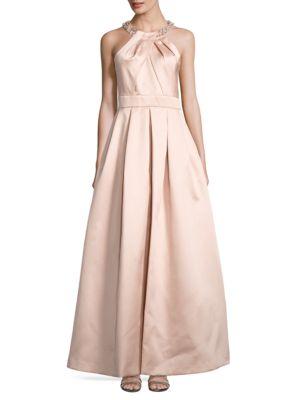 Beaded-Neck Fit-&-Flare Dress by Eliza J