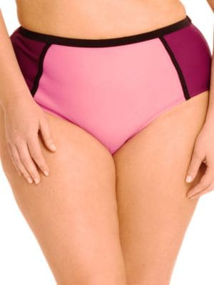 Colorblock High-Waist Bikini Bottom by PARAMOUR