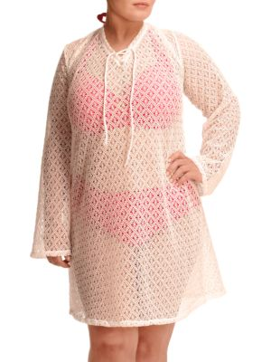 Plus Lace Up Crochet Tunic by PARAMOUR