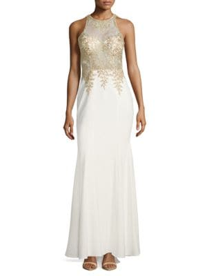 Embellished Illusion Trumpt Gown by Xscape