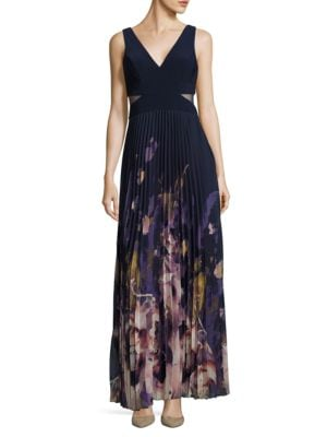 Cutout Pleated Floral Dress by Xscape