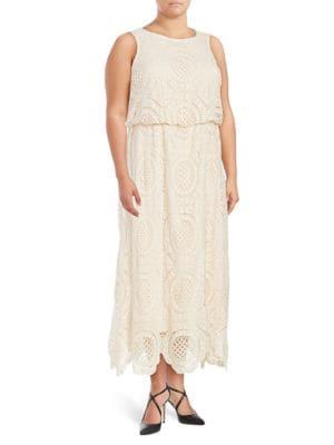 Plus Crochet-Overlay Blouson Gown by Eliza J