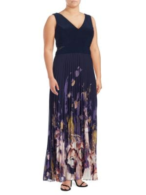 Mesh-Accented Floral Gown by Xscape