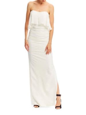 Techy Crepe Strapless Georgette Combo Dress by Nicole Miller