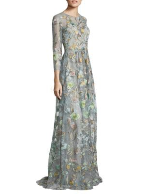 Sleeveless Floral Embellished Gown by Marchesa Notte