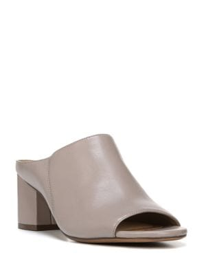 Cyprine Leather Block Heel Mules by Naturalizer